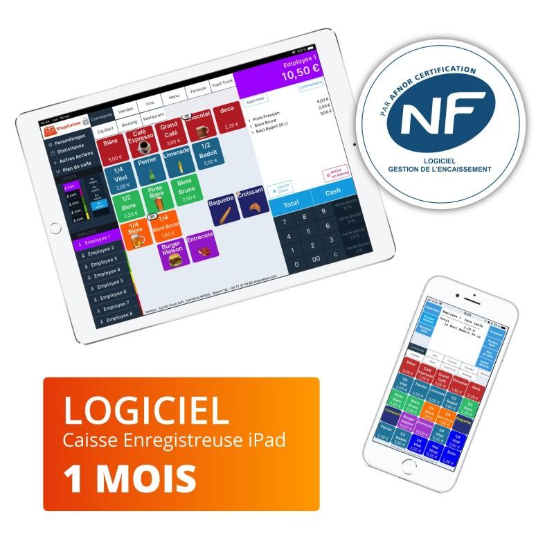 ShopCaisse 1 mois NF525 pour restaurant